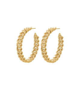 LOURDES CHAIN CREOLE EARRINGS LARGE GOLD