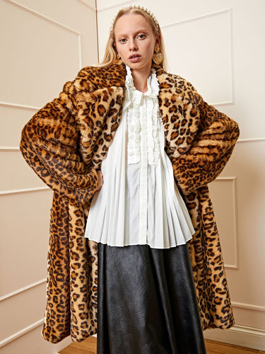 <b>DREAM</b> Liana Leopard Faux Fur Coat
