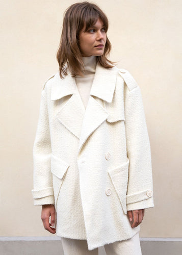 A-Line Boucle PeaJacket in Winter White