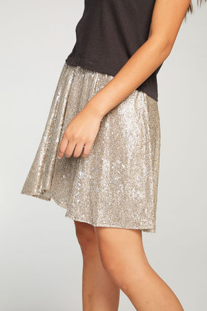 Chaser-Sequin Contrast Mini Skirt
