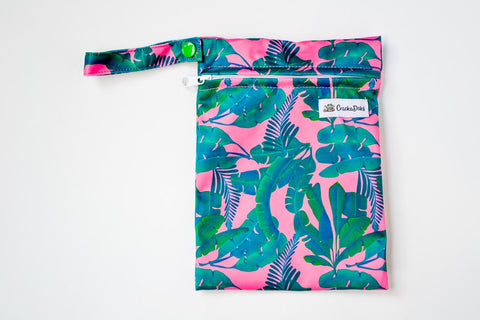 Crackadaks mini wet bag banana leaves tropical sunset