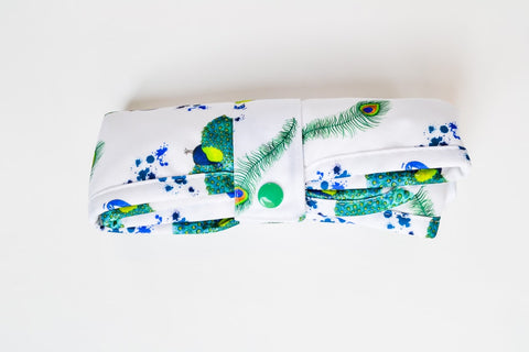 Crackadaks modern cloth change mat bamboo velour without feather ado peacock design #lovemycrackadaks