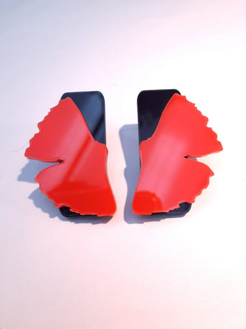 Brilliant Red Ginkgo stud earrings