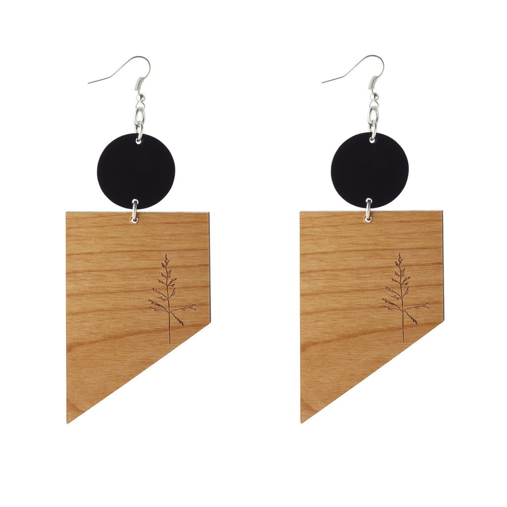 Etched Sable and Alder wood earrings with Grass leaf detail