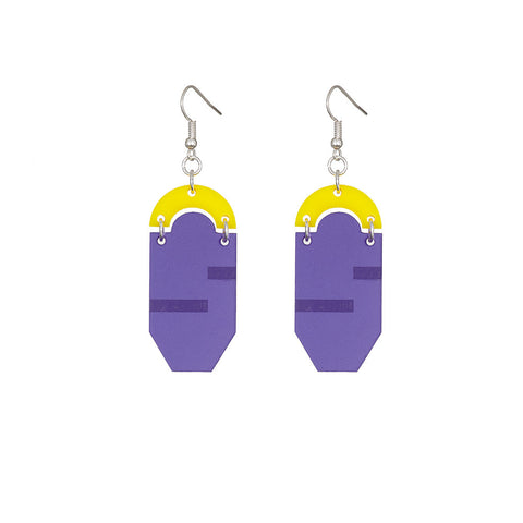 Etched & frosted Violet hindged drop earrings with high shine acrylic Detail