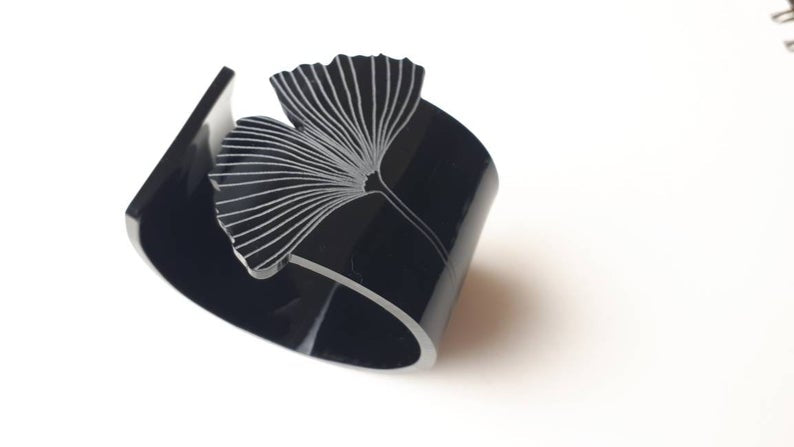 Sculptural Acrylic Cuff with etched Ginkgo leaf detail