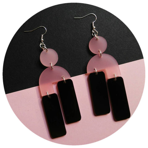 Frosted Rose and high shine sable Acrylic drop earrings