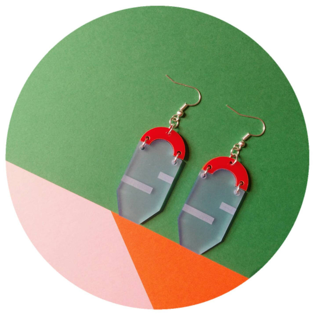 Etched Frosted Powder blue and high shine Red Acrylic drop earrings
