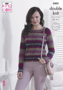King Cole Knitting Pattern Sweater & Cardigan  - 5005