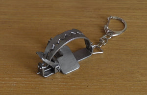 Handmade Mini Metal Bear Trap Necklace + Keychain 2 in 1