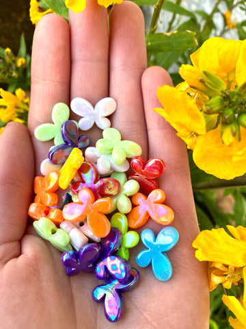 AB Lustre Butterfly Beads (pack of 50) in a variety of bright colours - ideal for beading activities.