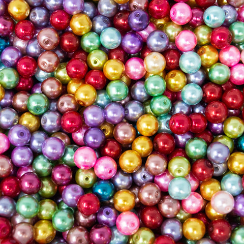 Metallic Foiled glass Pearl Beads