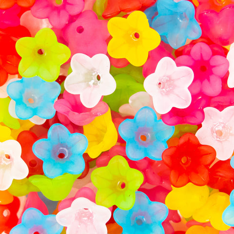 Frosted Transparent Flower Beads in bright colours.