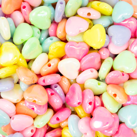 AB Lustre heart shaped beads in a variety of colours