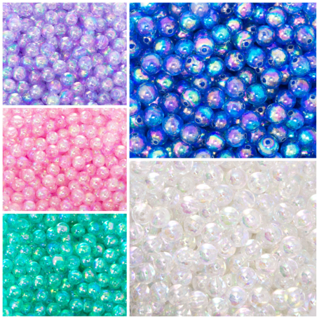 Acrylic Bubble Beads with AB Lustre - Pink, green, blue, purple, clear