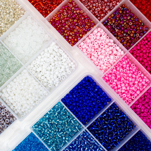3mm Seed Bead Organiser Packs in colour themed styles with a selection of finishes from Big Little Store - Liskeard, Cornwall
