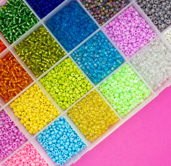 3mm Seed Bead Selection Packs. 24 Colours/Finishes. Approx 8500 Beads