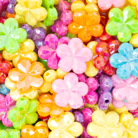 Acrylic Multicoloured Flower AB Lustred Flower Beads with bicone detailing, ideal for beading hobbies. From Big Little Store - Liskeard, Cornwall