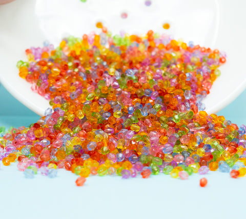 Tiny Facted bicone acrylic beads in bright mixed colours, ideal for jewellery making from Big Little Store - Liskeard, Cornwall
