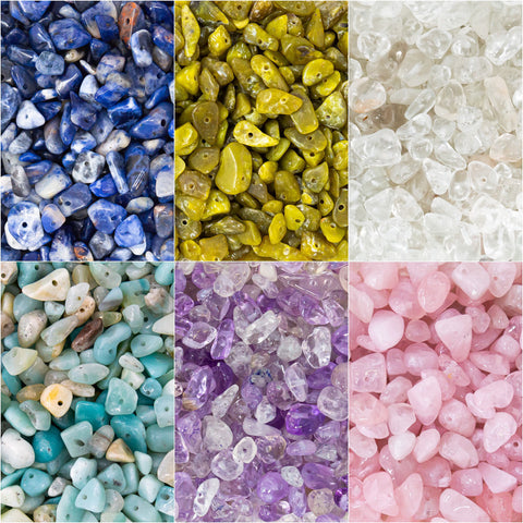 Gemstone chip Nuggets in packs of 40g in a variety of sizes and options, including Rose Quartz, Amethyst, Amazonite, Peridot and Sodalite from Big Little Store - Liskeard, Cornwall