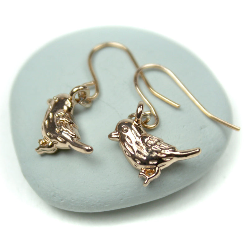 Rose Gold Plated Bird Earrings - bigigloo.co.uk  - 1