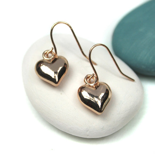 Rose Gold Plated Heart Drop Earrings - bigigloo.co.uk