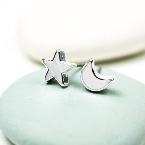 Moon And Star Silver Plated Or Rose Gold Plated Studs - bigigloo.co.uk  - 2