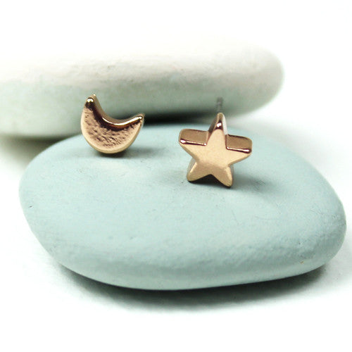 Moon And Star Silver Plated Or Rose Gold Plated Studs - bigigloo.co.uk  - 1