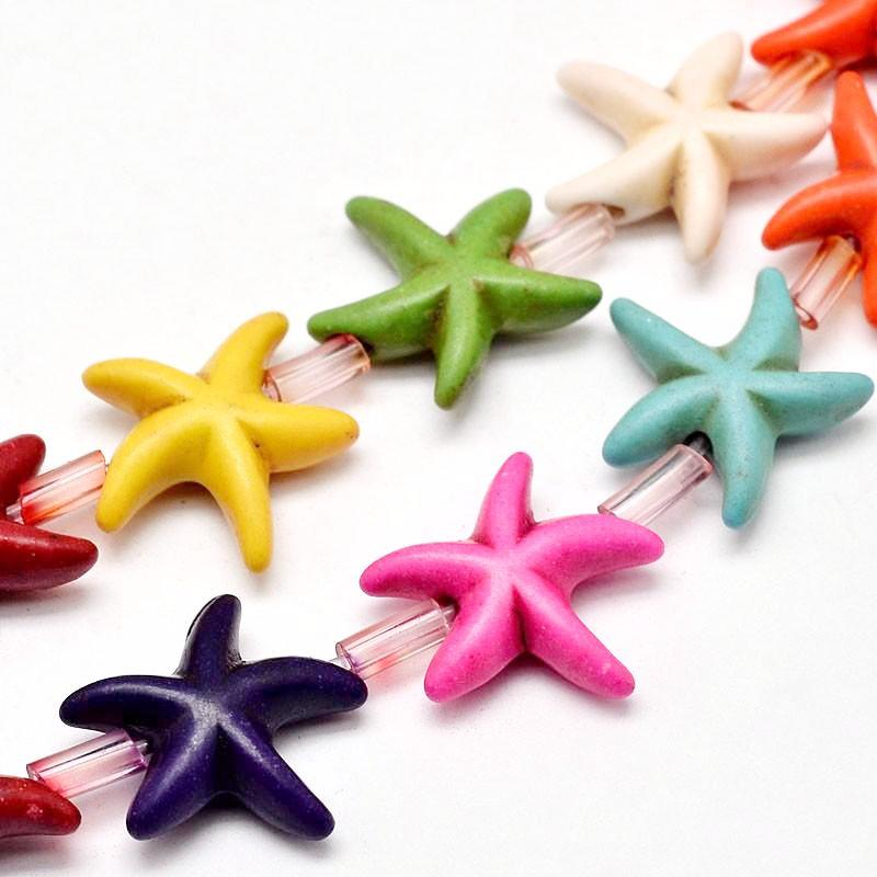Starfish Bead Strands. Multicolour. Approx 26 Per Strand. Synthetic Turquoise.