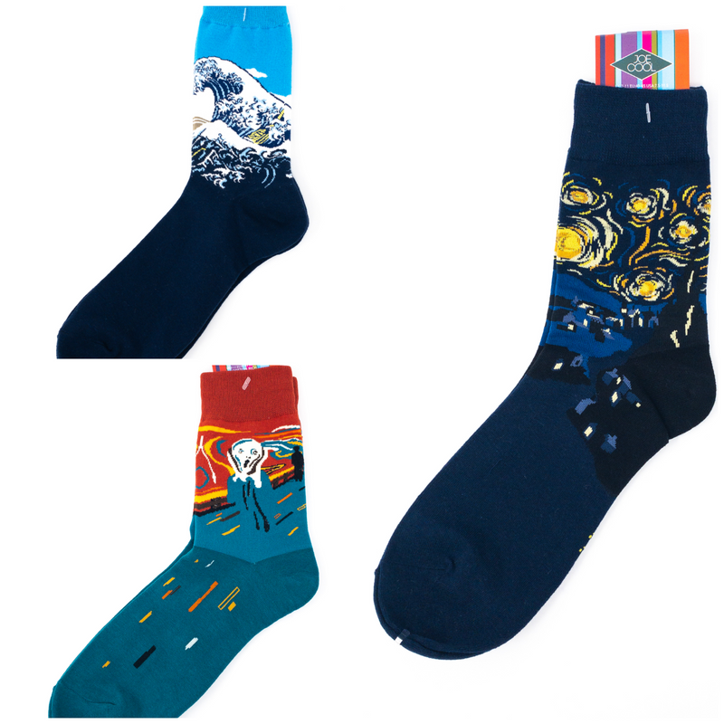 Mens' Art Masterpiece Socks-3 Designs. The Scream, Starry Night Or The Great Wave
