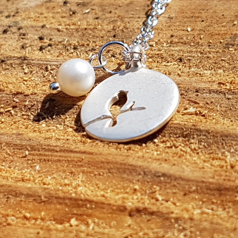 Silver Plated Bird Outline Necklace With Matt Finish And Pearl - bigigloo.co.uk  - 1