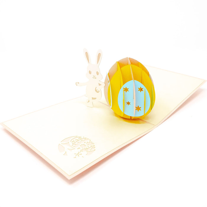 Handmade Pop Up Greetings Card-Easter Bunny. 12 x 12cm.