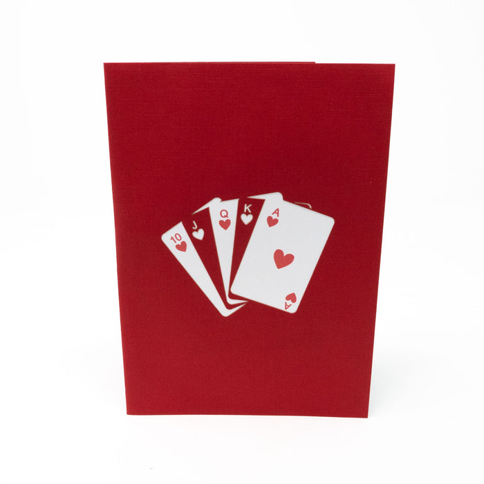 Handmade Pop Up Greetings Card-Poker Playing Cards. 10 x 15cm.