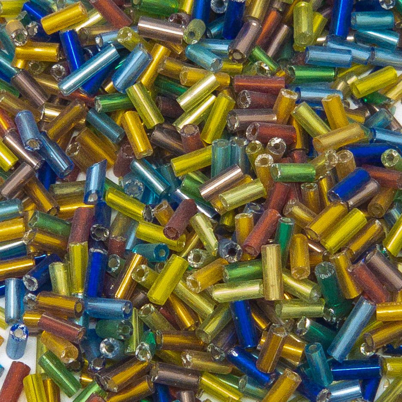50g Mixed Colour Silver Lined 5 x 2mm Bugle Beads. 0.8 Hole
