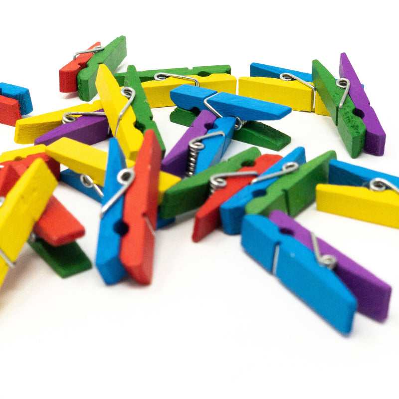 Multicolour 35mm Craft Pegs x 20. Ideal For Scrapbooking, Other Arts & Crafts.