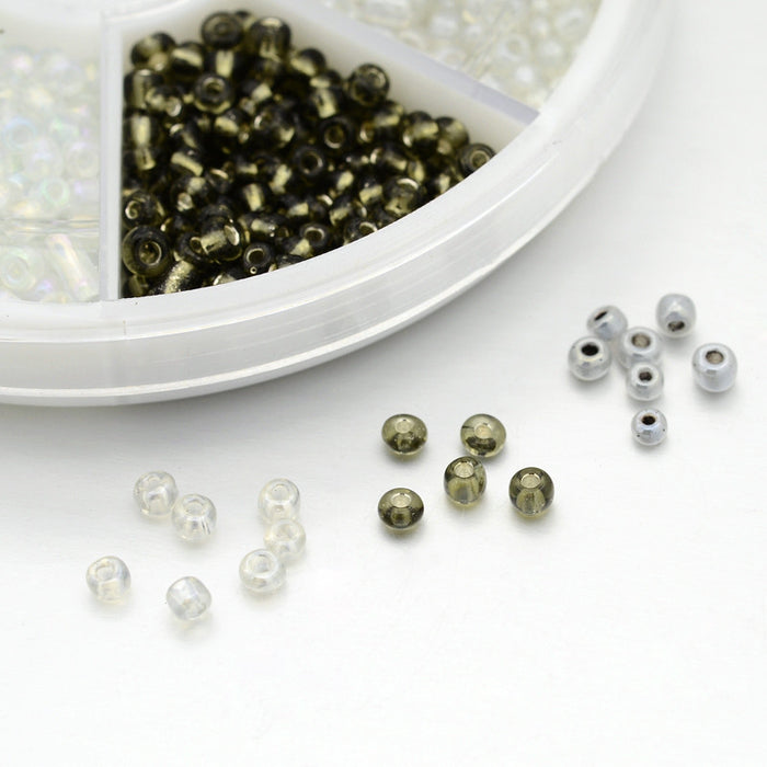Glass Seed Beads Organizer Pack. 1200 X 3mm Beads With 1mm Hole (8/0)