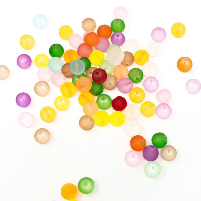 Frosted Glass Beads.  Multicoloured. 4mm, 6mm, 8mm, 10mm.