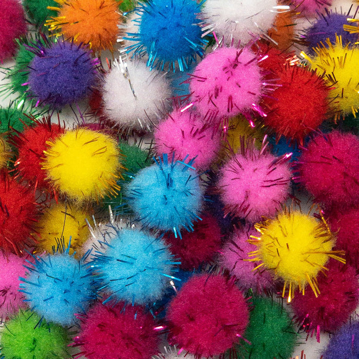 15mm Metallic Pom Poms x 100 In Assorted Colours