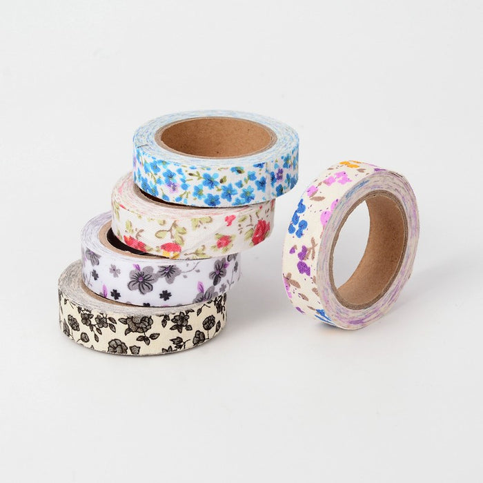 Washi Tape In Floral Fabric For Scrapbooks & Crafts. 5 Rolls Of 5m. 15mm Wide