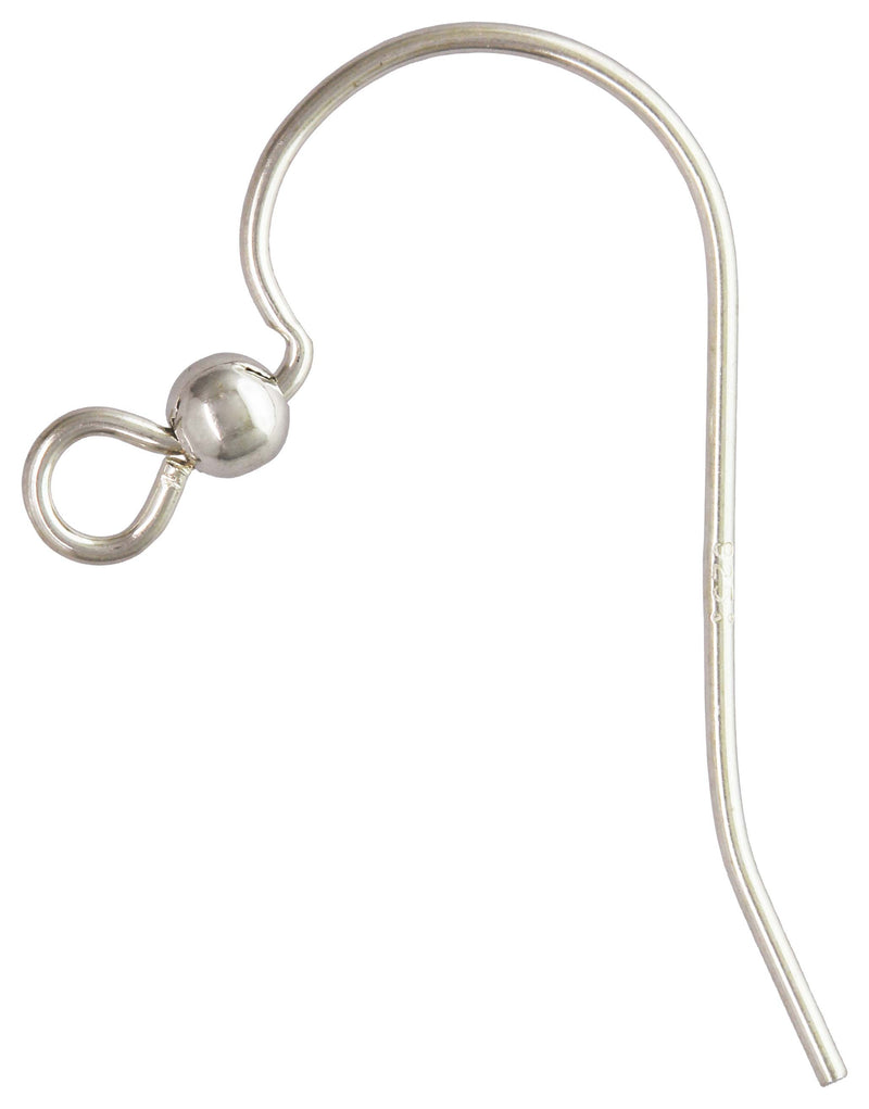 Earwire Pairs In Solid 925 Silver With 2.5mm Solid Beads