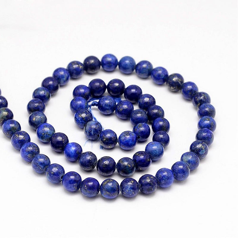 Blue/Gold Lapis Luzuli Round Beads. Semi-Precious Gemstones. 6mm, 8mm or 10mm.