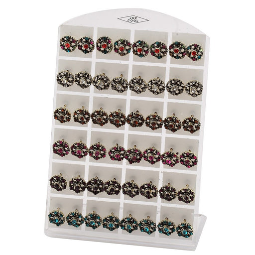 Vintage Style Round 10mm Studs With Sparkly Crystals - bigigloo.co.uk  - 1