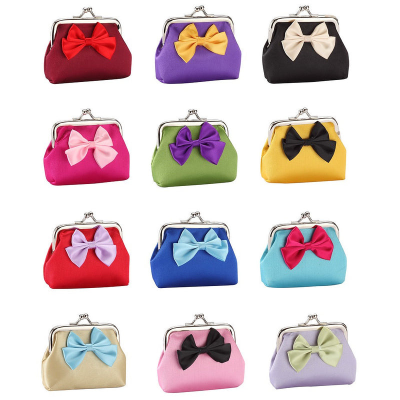 Fun Bright Bow Silk Purses in Red, Gold, Blue, Pink, Green, Purple, Yellow - bigigloo.co.uk  - 1