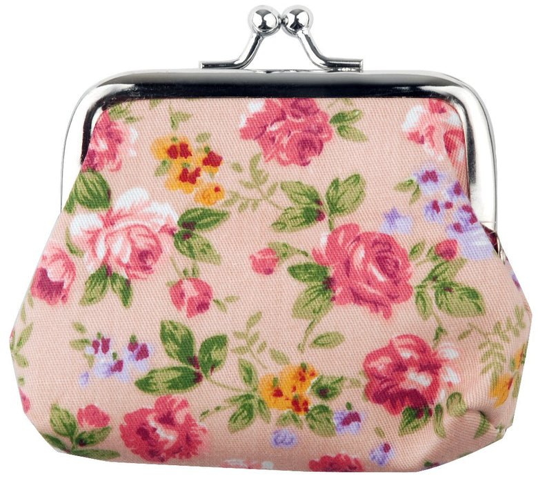 Retro Floral Coin Purse Blue, Black, Pink, Brown - bigigloo.co.uk  - 3