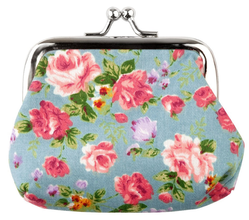 Retro Floral Coin Purse Blue, Black, Pink, Brown - bigigloo.co.uk  - 2