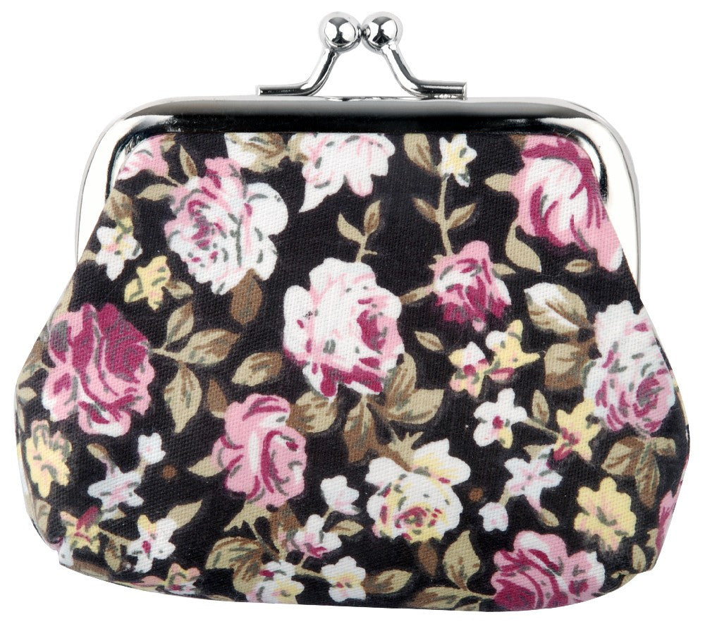 Retro Floral Coin Purse Blue Pink Black Brown