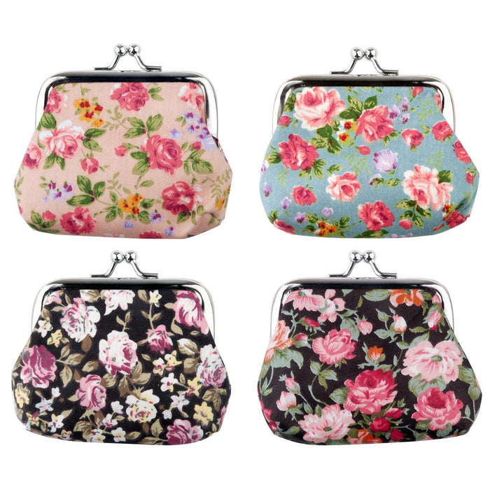 Retro Floral Coin Purse Blue, Black, Pink, Brown - bigigloo.co.uk  - 1