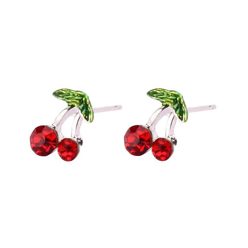 Tiny Silver Plated Red & Green Cherry Stud Earrings - bigigloo.co.uk