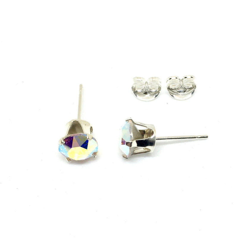 6mm Genuine Swarovski® Crystal & 925 Solid Silver Stud Earrings