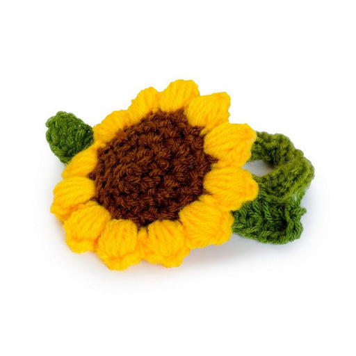 Wool Knitted Hair Scrunchie.  Rose Or Sunflower. - bigigloo.co.uk  - 1